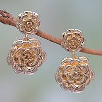 Gold plated sterling silver dangle earrings Blooming Rose (Indonesia)