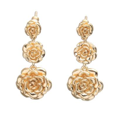 Rose Trio 18k Gold Plated Sterling Silver Dangle Earrings