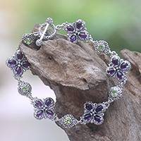 Multi-gemstone reversible link bracelet, 'Petals of Fortune' - Multi-Gemstone Reversible Link Bracelet from Bali