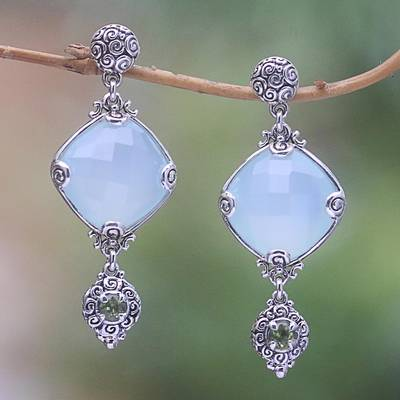 Chalcedony and peridot dangle earrings, 'Buddha's Curl Elegance' - 25-Carat Chalcedony and Peridot Dangle Earrings from Bali