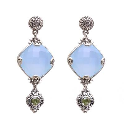 25-Carat Chalcedony and Peridot Dangle Earrings from Bali