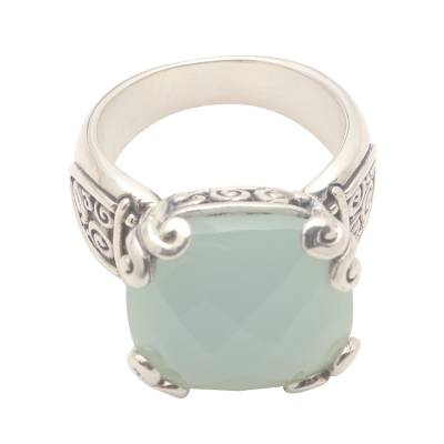 12-Carat Chalcedony Cocktail Ring from Bali