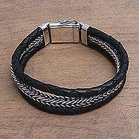 Men's sterling silver and leather bracelet, 'Three Snakes in Black' - Men's Sterling Silver and Black Leather Bracelet from Bali