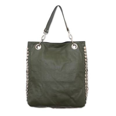 Green Leather Studded Shoulder Bag with Pockets from Java