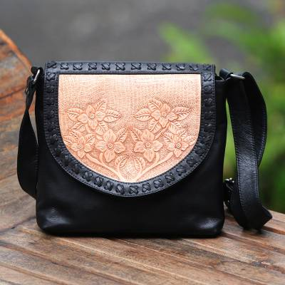 Leather sling, 'Fashionable Garden' - Handmade Leather Sling with Floral Patterns from Bali