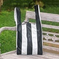 Leather tote, 'Kresek Style' - Black and White Striped Leather Tote from Bali