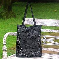 Leather shoulder bag, 'Jogja Stars in Black' - Floral Openwork Leather Shoulder Bag in Black from Bali