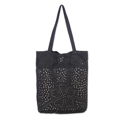 Floral Openwork Leather Shoulder Bag in Black from Bali