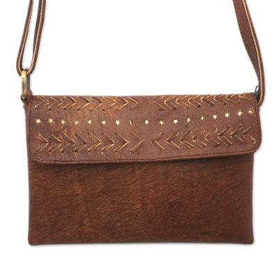 Chevron-Pattern Leather Sling in Sepia from Bali