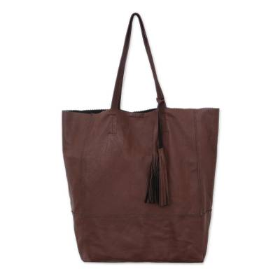 Handcrafted Leather Tote in Mahogany from Bali