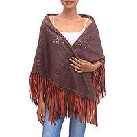 Leather shawl, 'Keraton Majesty in Mahogany' - Patterned Leather Shawl in Mahogany from Bali