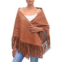 Leather shawl, 'Keraton Majesty in Ginger' - Patterned Leather Shawl in Ginger from Bali