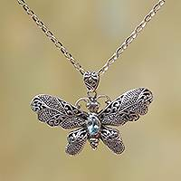 Blue topaz pendant necklace, 'Elaborate Butterfly in Blue' - Blue Topaz and Sterling Silver Butterfly Pendant Necklace
