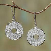 Sterling silver filigree dangle earrings, 'Fascinating Circles' - Circular Sterling Silver Filigree Dangle Earrings from Java