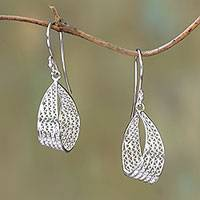 Sterling silver filigree dangle earrings, 'Elegant Ribbon' - Sterling Silver Filigree Ribbon Dangle Earrings from Java