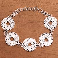 Sterling silver filigree link bracelet, 'Fascinating Circles' - Circle Pattern Sterling Silver Filigree Link Bracelet
