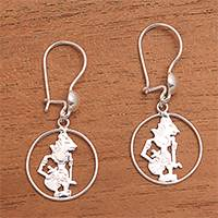 Sterling silver dangle earrings, 'Krishna Circle' - Circular Sterling Silver Krishna Dangle Earrings from Java