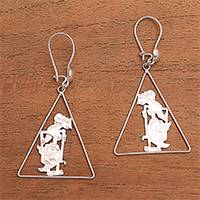 Sterling silver dangle earrings, 'Srikandi Triangle' - Triangular Sterling Silver Srikandi Dangle Earrings