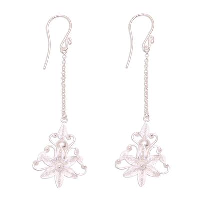 Floral Sterling Silver Filigree Dangle Earrings from Java