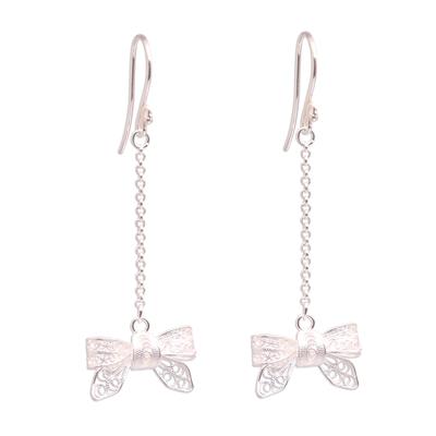 Bow-Shaped Sterling Silver Filigree Dangle Earrings