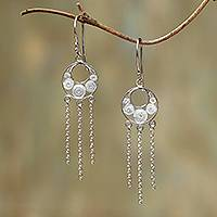 Sterling silver filigree chandelier earrings, 'Pure Circles' - Circle Pattern Sterling Silver Filigree Chandelier Earrings