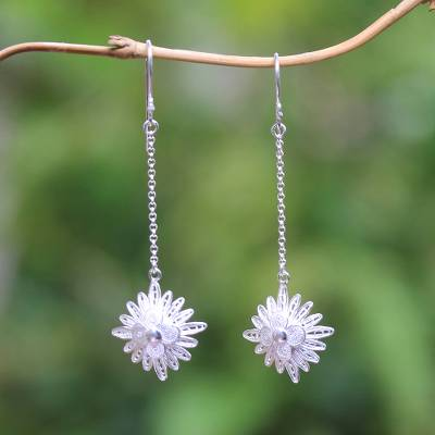 Sterling silver filigree dangle earrings, Snowflake Elegance