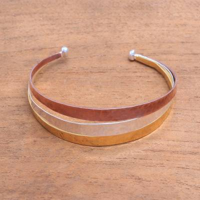 Gold accented sterling silver cuff bracelet, 'Metallic Rainbow' - Gold Accent Sterling Silver Cuff Bracelet from Bali
