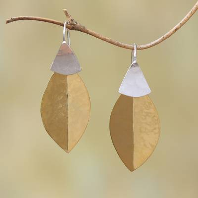 Gold plated dangle earrings, 'Modern Fall' - 22k Gold Plated Dangle Earrings from Bali
