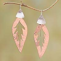 Rose gold plated dangle earrings- 'Heart of the Leaf' (Indonesia)