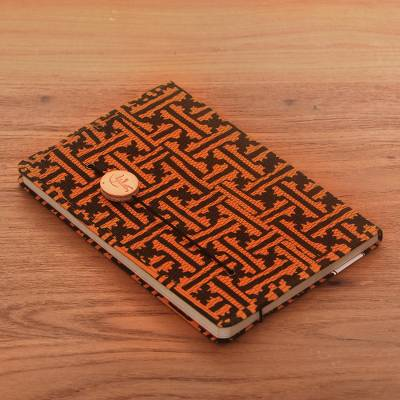 Batik cotton journal, 'Contemplative Archer' - Orange and Black Cotton Cover Journal Recycled Paper Pages