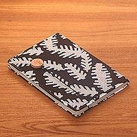 Batik cotton journal, 'Archer in the Trees' - Black Leaf Motif Cotton Cover Journal Recycled Paper