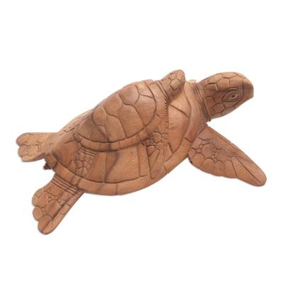 Hand-Carved Suar Wood Sea Turtle Sculpture from Bali