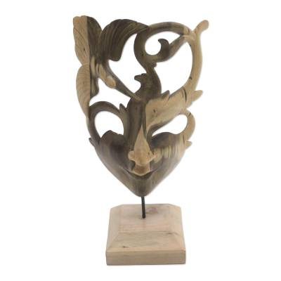 Wood mask, 'Balinese Dancer' - Hummingbird-Themed Hibiscus Wood Mask from Bali