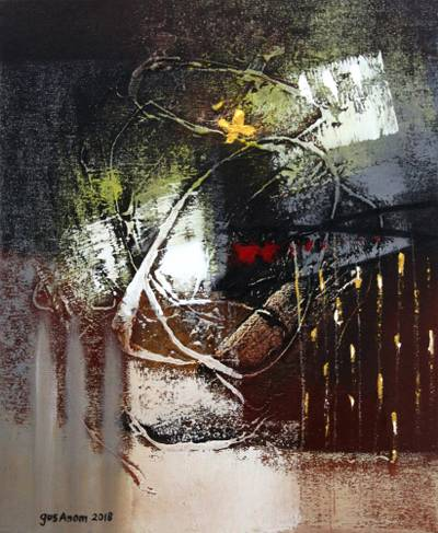 'Responding the Night I' - Signed Intricate Abstract Painting from Bali