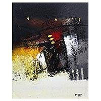 'Responding the Night II' - Signed Abstract Painting by a Balinese Artist