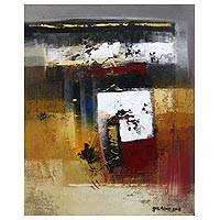 'Three Basic Concepts of Life' - Signed Square Motif Abstract Painting from Bali
