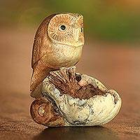 Wood figurine, 'Lone Owl' - Jempinis and Parasite Wood Owl Figurine from Bali