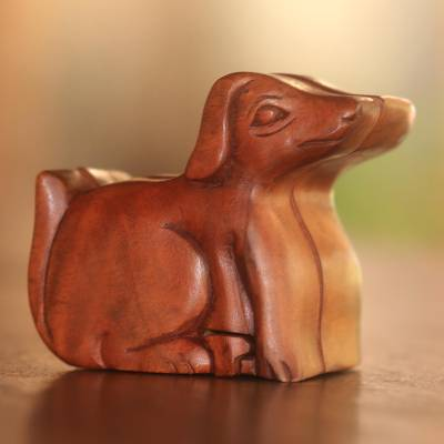 Wood puzzle box, 'Playful Dog' - Handmade Suar Wood Dog Puzzle Box from Bali