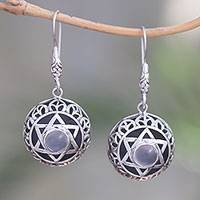 Moonstone dangle earrings, 'Six Points' - Moonstone Six-Pointed Star Dangle Earrings from Bali