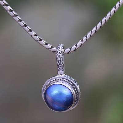 Cultured pearl pendant necklace, 'Round Luxury in Blue' - Blue Cultured Pearl Pendant Necklace from Bali