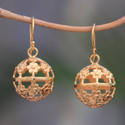 Gold plated sterling silver dangle earrings, Floral Lanterns