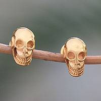 Gold plated sterling silver stud earrings, 'Skull Kingdom' - Gold Plated Sterling Silver Skull Earrings from Bali
