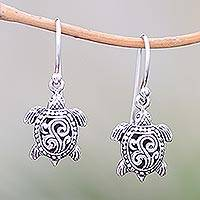 Sterling silver dangle earrings, 'Ancient Turtle' - Sterling Silver Sea Turtle Dangle Earrings from Bali