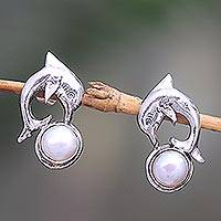 Cultured pearl drop earrings, 'Playful Dolphin' - Cultured Pearl Dolphin Drop Earrings from Bali