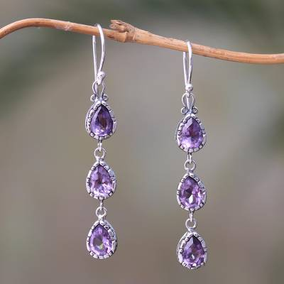Amethyst dangle earrings, 'Eternity Drop' - 4-Carat Teardrop Amethyst Dangle Earrings from Bali