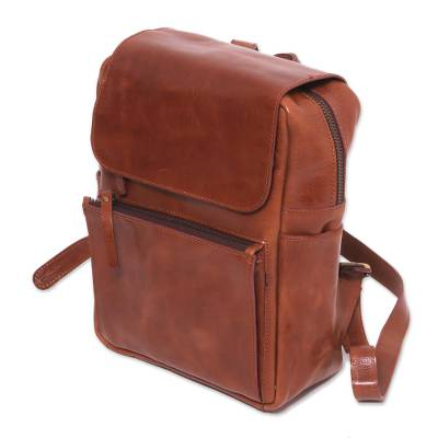 Handmade Leather Backpack in Sepia from Java