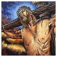 'My God, my God, Why Hast Thou Forsaken Me?' (2019) - Signed Expressionist Painting of Jesus on the Cross