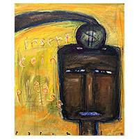 'Insert Coin, Please' - Signed Whimsical Expressionist Painting from Bali