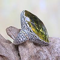 Gold accented quartz cocktail ring, 'Sky Arc' - Gold Accented 20-Carat Quartz Cocktail Ring from Bali