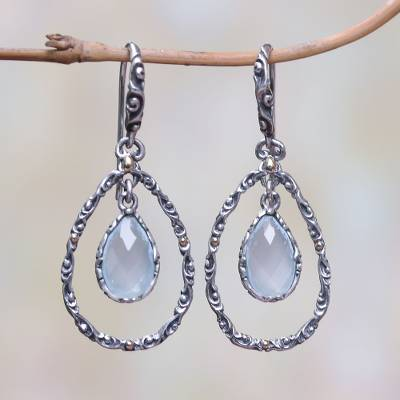 Gold accented chalcedony dangle earrings, 'Eternity Dew in Blue' - Gold Accented Blue Chalcedony Dangle Earrings from Bali